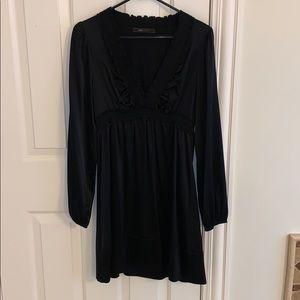 BCBG black silk dress like new size small